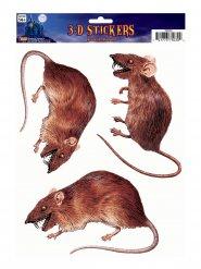 Ratten-Aufkleber Halloween-Raumdekoration 3 Stück braun