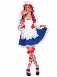 Puppen Kostüm mit Perücke für Damen