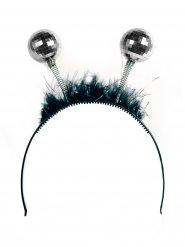 Discokugel-Haarreif 70er-Jahre Partyzubehör schwarz-silber