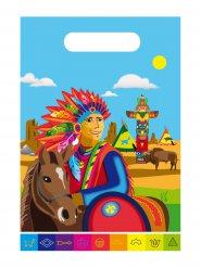 Indianer-Geschenktüten Kindergeburtstag 8 Stück bunt 24x17cm