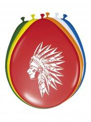 Indianer Luftballons Western Kindergeburtstag 8 Stück bunt 30cm