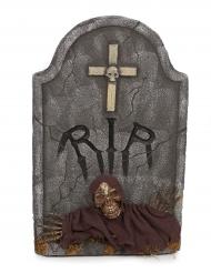 Leuchtender Grabstein Halloween-Deko grau mit Skelett