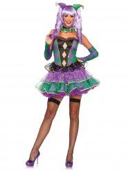 Niedliches Harlekin-Damenkostüm Clown grün-lila-schwarz