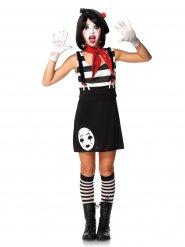 Pantomime-Kostüm für Jugendliche schwarz-weiss