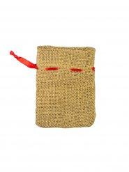 Leinen-Säckchen Geschenk-Beutel für Weihnachten beige-rot 11 x 8 cm