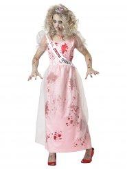 Prom Queen Zombie-Kostüm für Damen rosa-weiss-rot