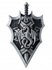 Ritter-Schild mit Schwert und Drachen Accessoire grau-schwarz 53x36 cm