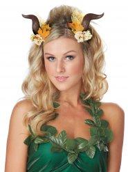 Faun Hörner Kopfschmuck-Accessoire mit Blumen bunt