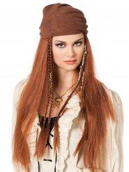 Perücke langen kastanienbraunes Haar Piraten mit Halstuch Damen