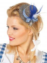Bayerischer Mini Hut mit grauen und blauen Federn für Damen