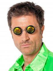 Hologramm-Hippiebrille humorvolles Kostümzubehör schwarz-gelb