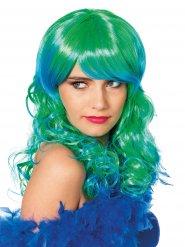 Perücke der langen Haare grün und blau Meerjungfrau Damen