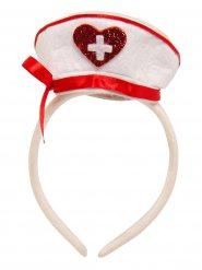 Haarreif mit roter weißer Krankenschwesterhaube für Damen