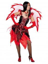 Teuflisches Feen-Kostüm für Damen Halloween schwarz-rot