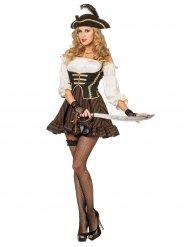 Verruchte Piratin Damenkostüm braun-beige-schwarz