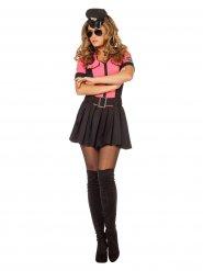 Sexy Polizei Kostüm schwarz und pink Damen