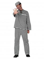 Sträflings-Kostüm für Herren Gefangener schwarz-weiss