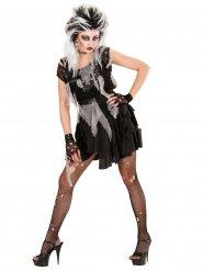 Gothic-Zombie Halloween-Kostüm für Damen schwarz-grau