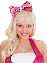 Stirnband mit rosa Schleife Pailletten Erwachsene