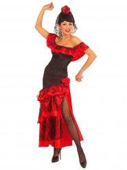 Spanische-Tänzerin Damenkostüm Flamenco schwarz-rot