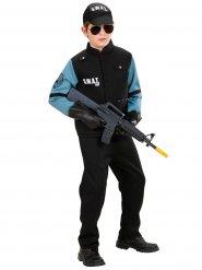 Police SWAT Kostüm schwarz und blau Junge