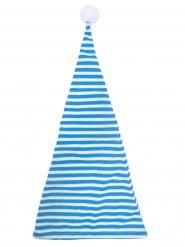 Mütze blau und weiß Bommel Erwachsene