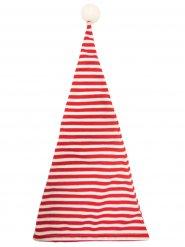 Gestreifte Schlafmütze Zwergenmütze mit Bommel rot-weiss