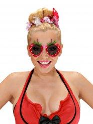 Erdbeere Spaß-Brille für Damen Kostüm-Accessoire rot-schwarz