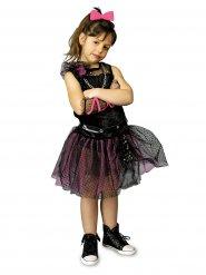 Punkerin-Kinderkostüm Gothic schwarz-pink