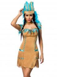 Sexy Indianer-Damenkostüm beige-blau