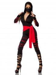 Verführerisches Ninja-Damenkostüm Asien schwarz-rot