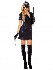 Polizei Kostüm blau schwarz für Damen