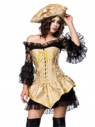 Verruchtes Piratenkostüm für Damen gold-schwarz