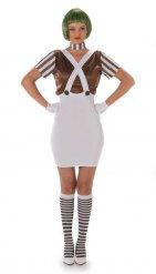 Schokoladenfabrikarbeiterin Kostüm für Damen braun-weiss
