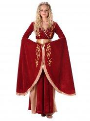 Kostüm mittelalterliche Königin rot und gold Damen