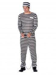 Gefangenen Kostüm gestreift schwarz-weiß Herren