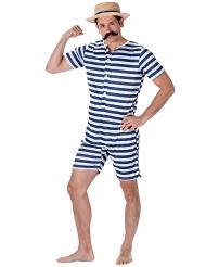 Badeanzug retro blau und weiß für Herren