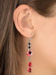 Totenschädel-Ohrringe für Damen schwarz-rot-silberfarben