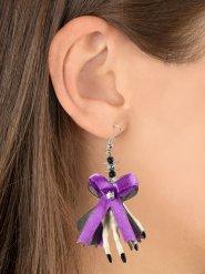 Skeletthand mit Schleife Ohrringe lila-schwarz-weiß