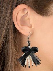 Skeletthand-Ohrringe mit Schleife Kostüm-Accessoire weiss-schwarz