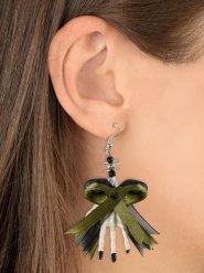 Skelett-Ohrringe mit Schleife grün-weiss 6,5x5x1cm