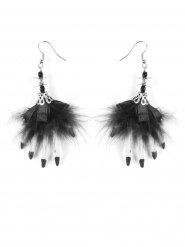 Halloween Hexen-Ohrringe Kostümzubehör weiss-schwarz