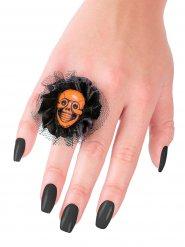 Halloween Ring mit Schädel und Spitze schwarz-orange