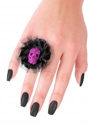 Schwarzer Ring und violett Schädel Halloween