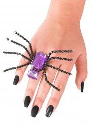 Ring Spinne schwarz und violett Halloween