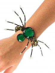 Gothic Armband Spinne Edelsteine grün Halloween