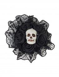 Schwarzer Ring mit Spitzenkragen und Totenkopf verziert Erwachsene