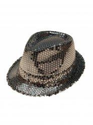 Silberner Gangster-Hut mit Pailletten