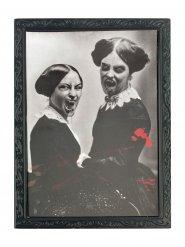 Schauriges Vampir-Portraitbild Halloween-Deko grau-schwarz 36x48cm