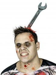 Schraubenschlüssel-Haarreif Halloween-Accessoire silber-grau 35cm